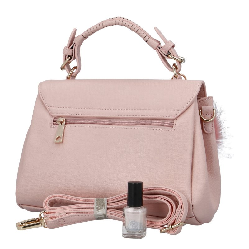 Luxusní dámská kabelka do ruky s bambulkou Joanna, růžová