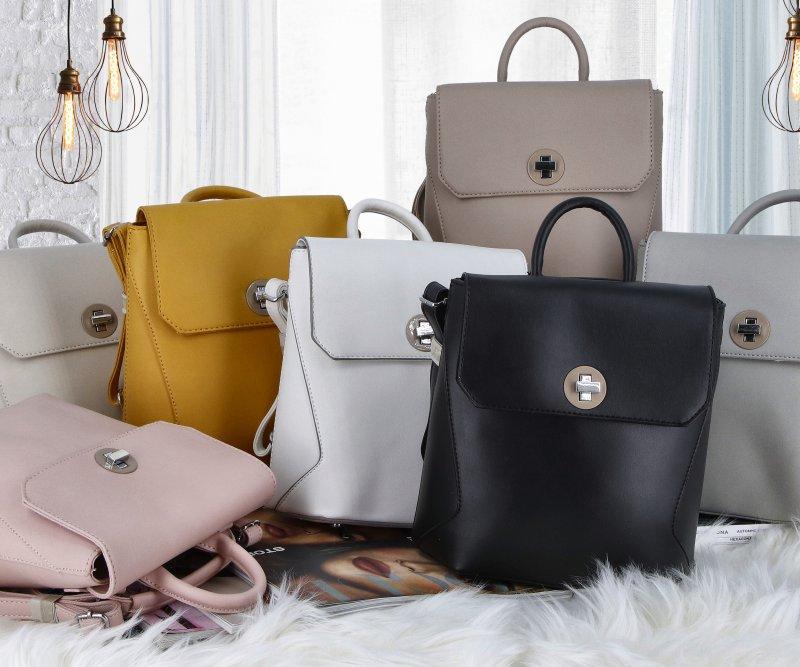 Luxusní dámský koženkový batůžek Caroline, khaki