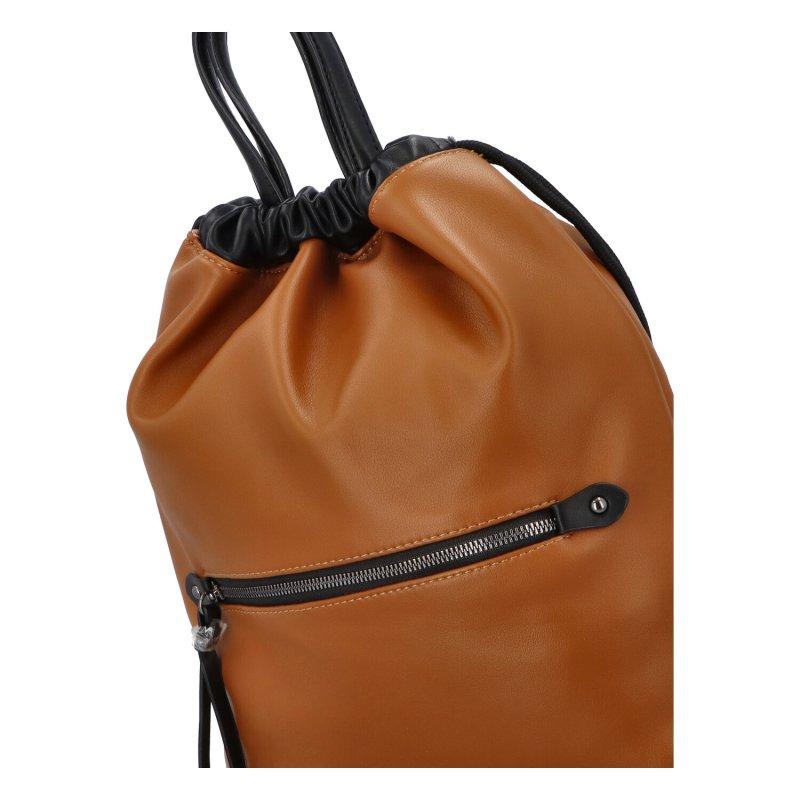 Stylový dámský koženkový batoh Iriaka, hnědá