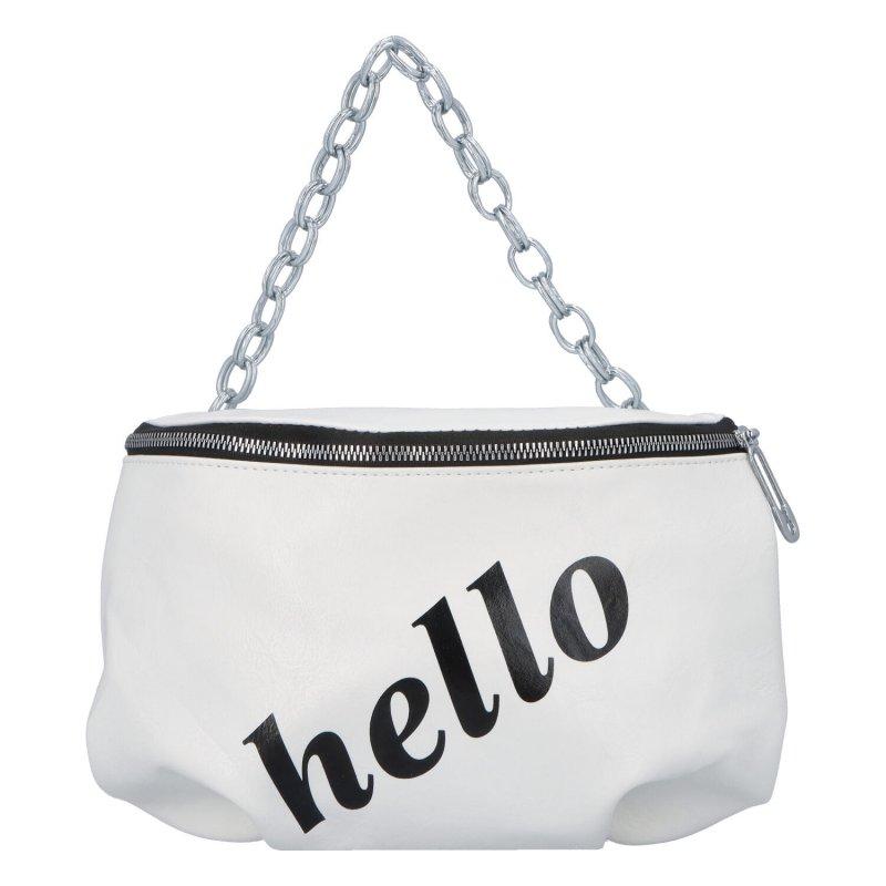 Módní dámská ledvinka s nápisem Hello, bílá