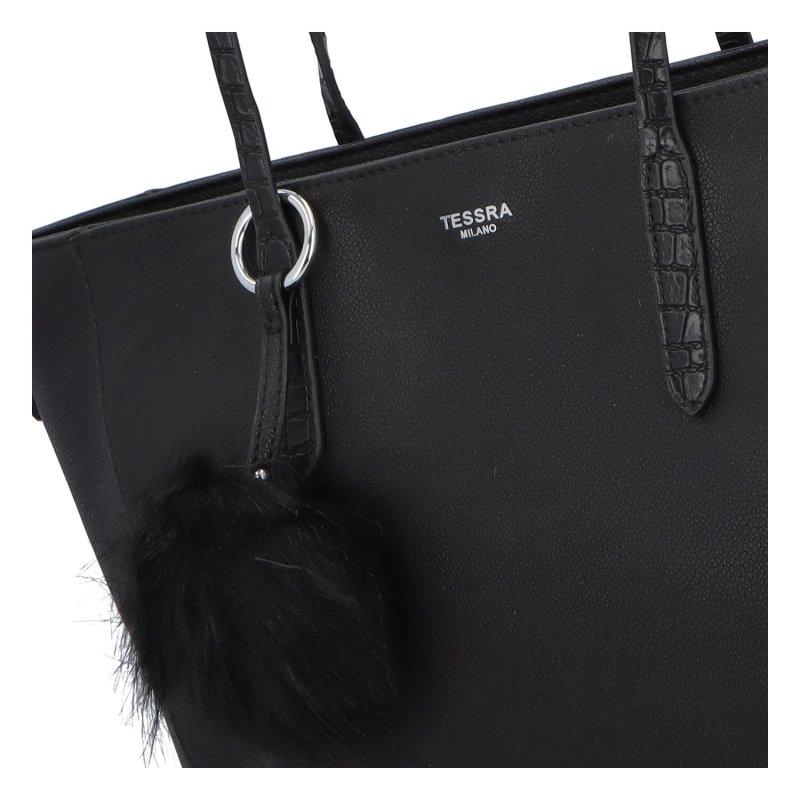 Moderní dámská koženková kabelka Modern princess, černá