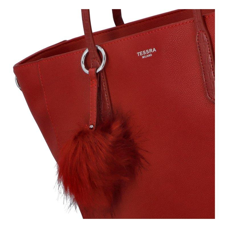 Moderní dámská koženková kabelka Modern princess, červená