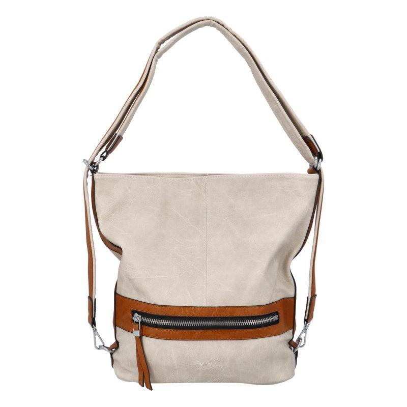 Praktická dámská koženková taška/batoh Hervé II, krémová