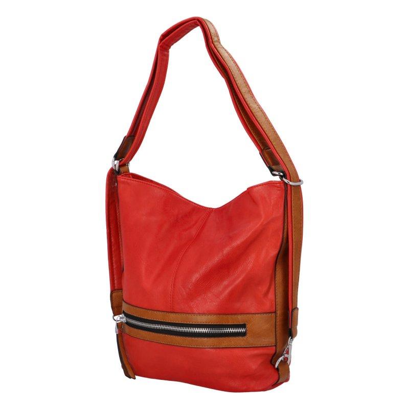 Praktická dámská koženková taška/batoh Hervé II, červená