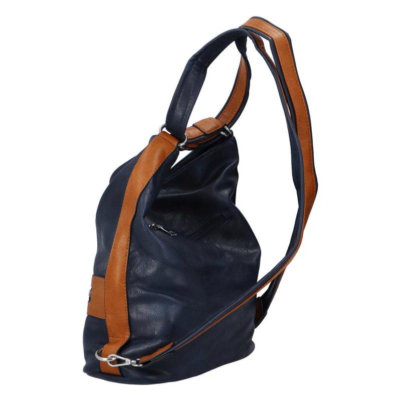 Praktická dámská koženková taška/batoh Hervé II, modrá