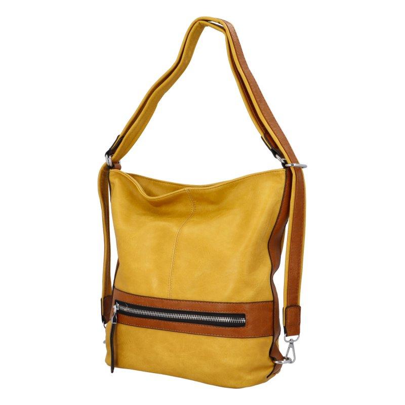 Praktická dámská koženková taška/batoh Hervé II, žlutá