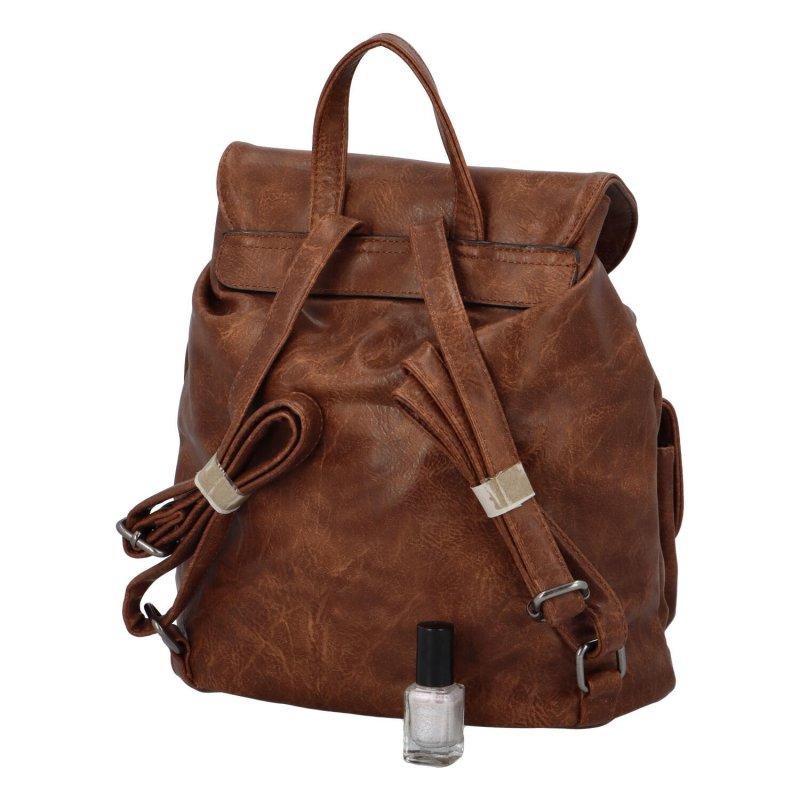 Stylový koženkový batůžek s kapsami Yvett, tmavě hnědý