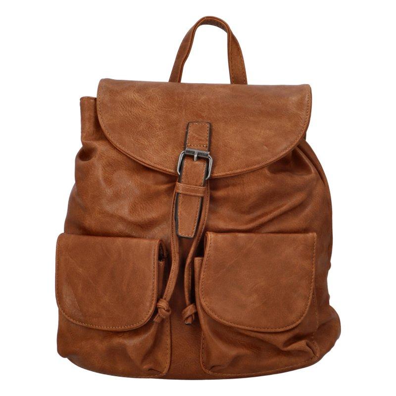 Stylový koženkový batůžek s kapsami Yvett, světle hnědý