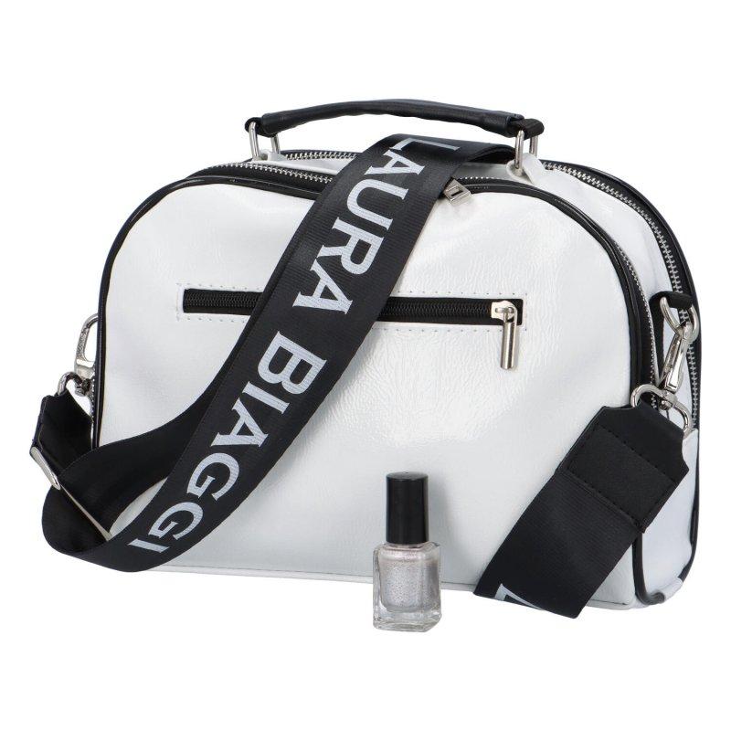 Dámská koženková kabelka LB Shiny crossbody, bílá