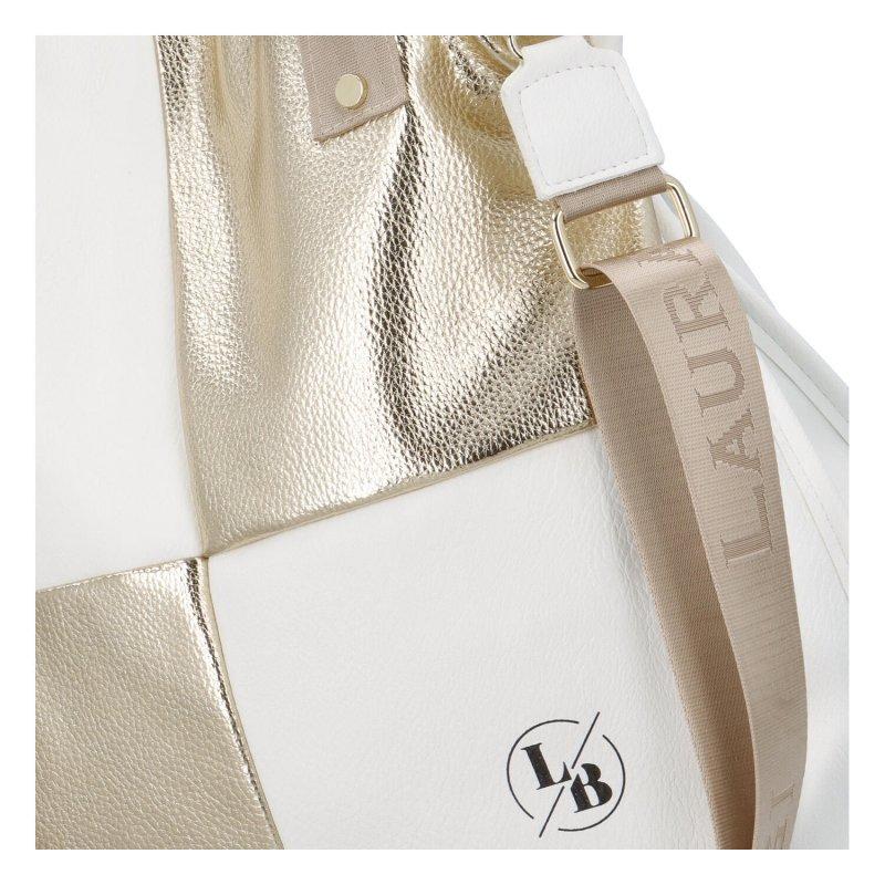 Nepřehlédnutelná dámská koženková taška Laura B. Golden, bílá/zlatá