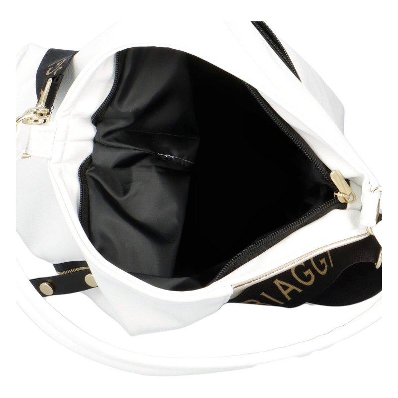 Výrazná dámská luxusní koženková taška Laura Golden Star, bílá/zlatá