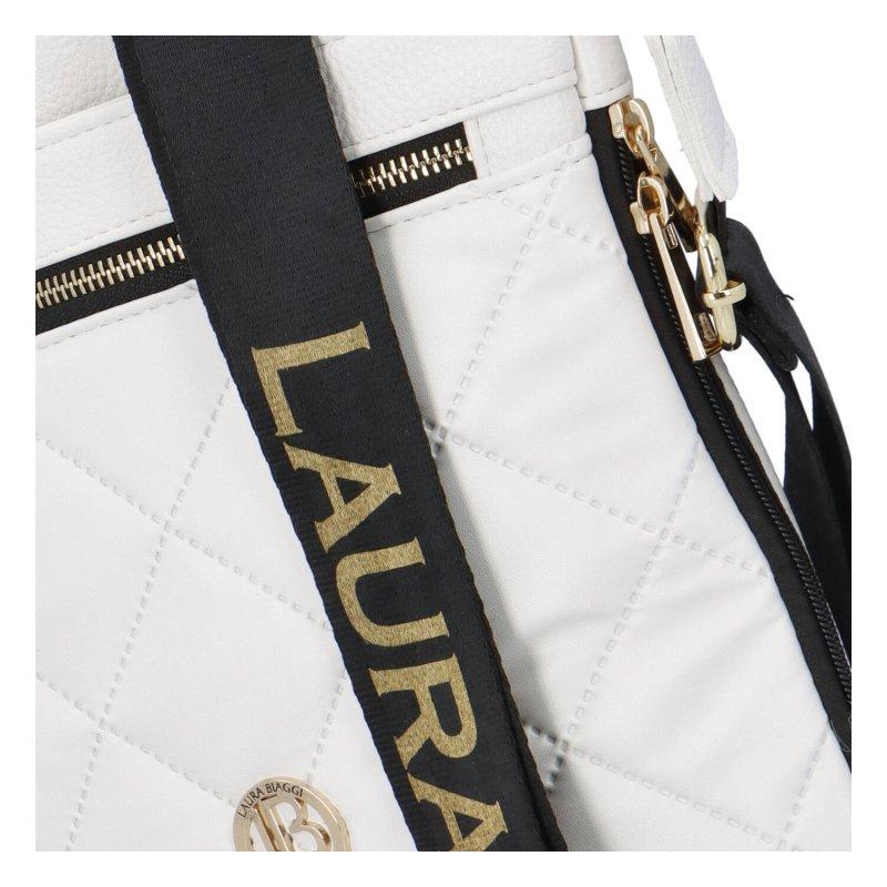 Luxusní dámská koženková crossbody Laura Biaggi Lux, bílá