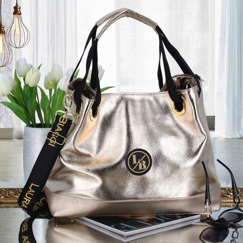 Objemná koženková dámská taška Luxury Laura Biaggi, zlatá