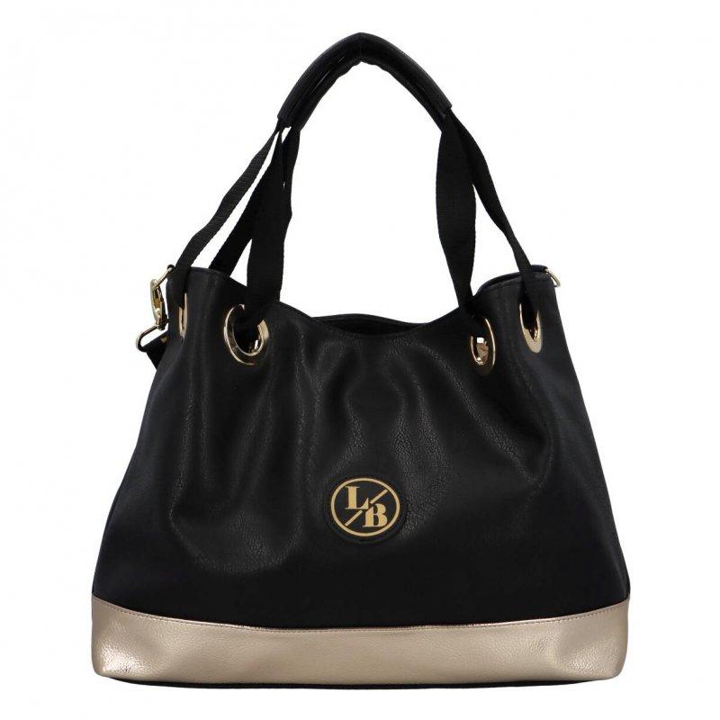 Objemná koženková dámská taška Luxury Laura Biaggi, černá