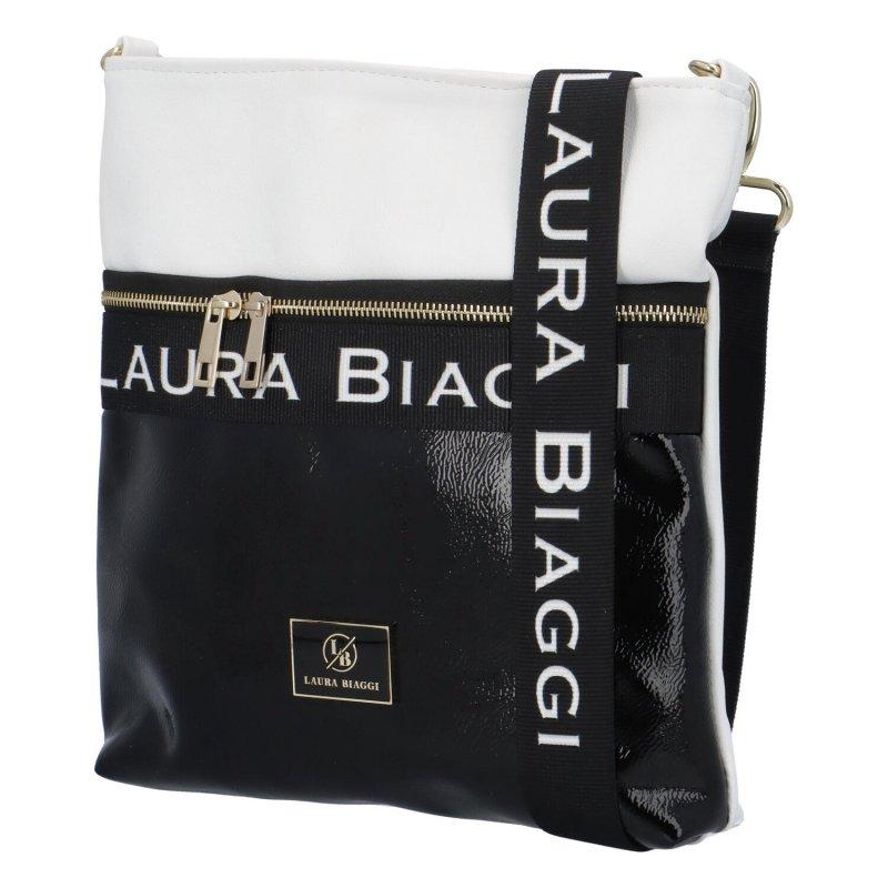 Luxusní dámská crossbody Ellen Laura, černá-bílá