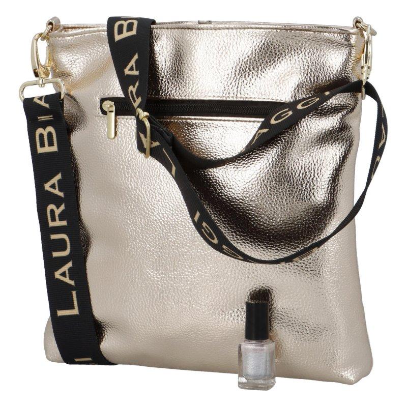 Luxusní dámská crossbody Ellen Laura, béžová-zlatá