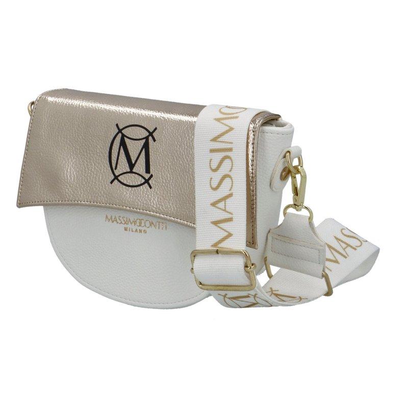 Luxusní půlkulatá crossbody Massimo Conti Luxury, bílá