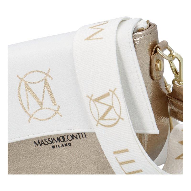 Luxusní půlkulatá crossbody Massimo Conti Luxury, bílozlatá