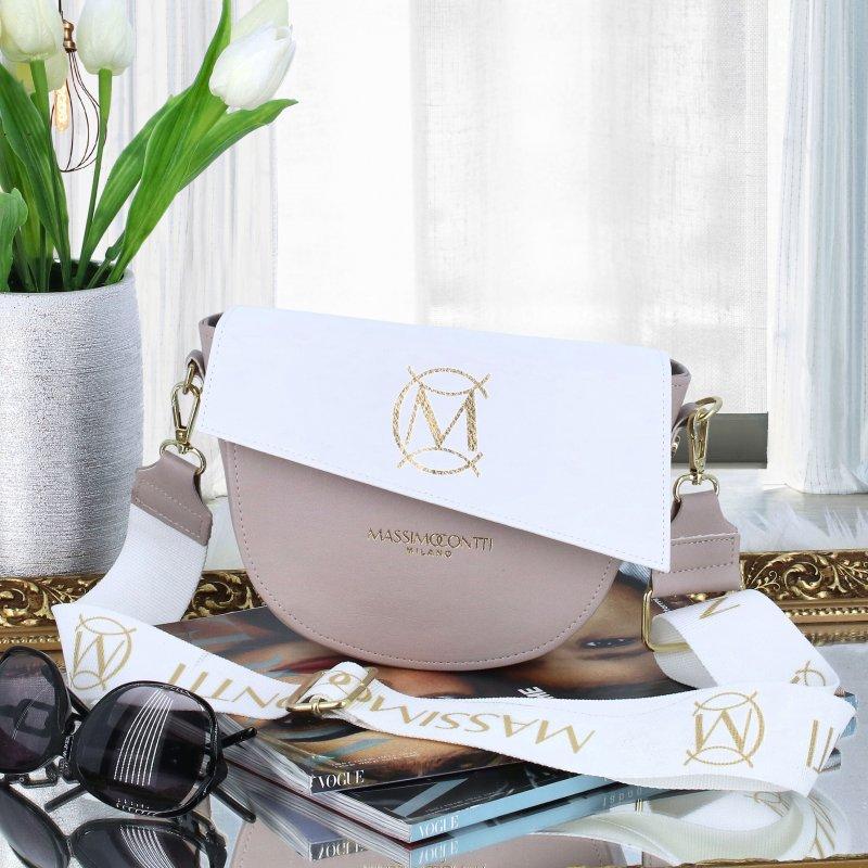 Nadčasová dámská luxusní crossbody M.C. Massimo, béžová