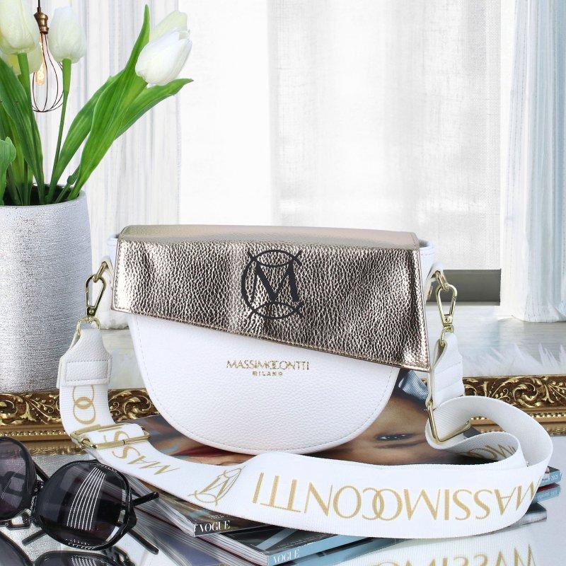 Nadčasová dámská luxusní crossbody M.C. Massimo, bílá