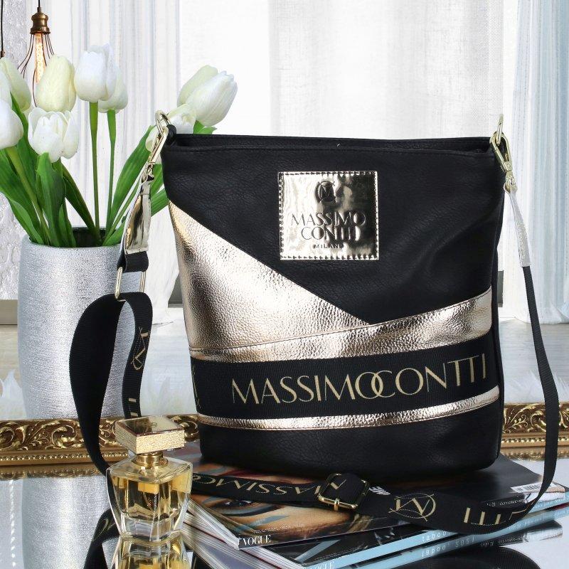 Nepřehlédnutelná dámská koženková crossbody Massimo Black and Gold, černozlatá