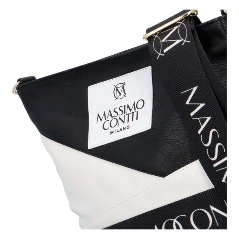 Nepřehlédnutelná dámská koženková crossbody Massimo Black and White, černobílá