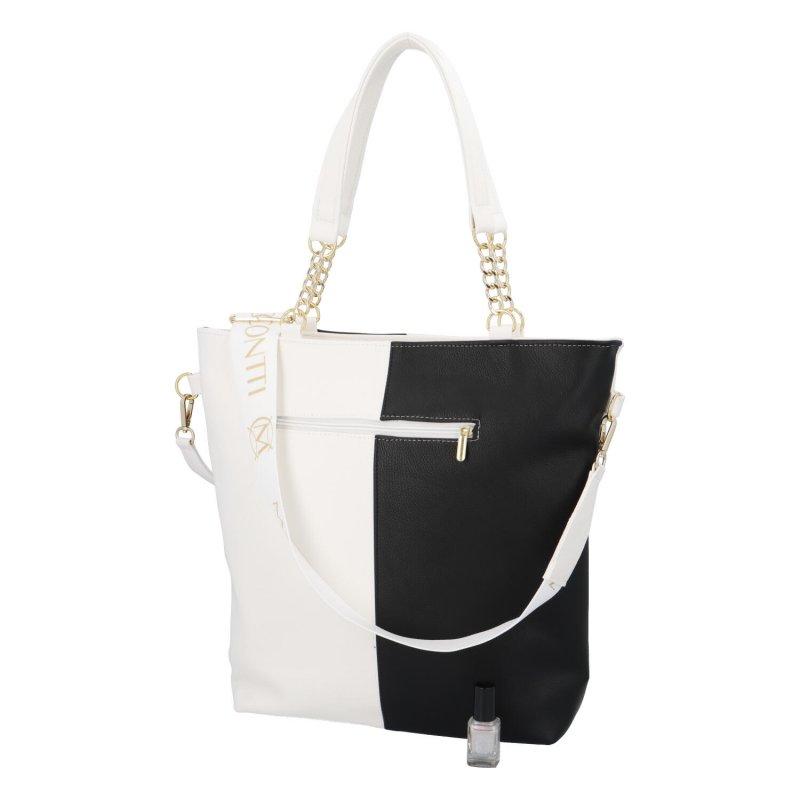 Módní dámská koženková taška M.C. Blackwhite, černobílá
