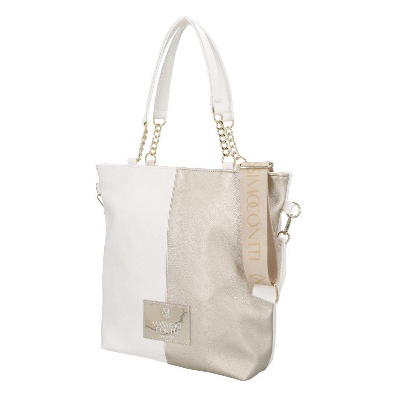 Módní dámská koženková taška M.C. Whitegold, bílozlatá