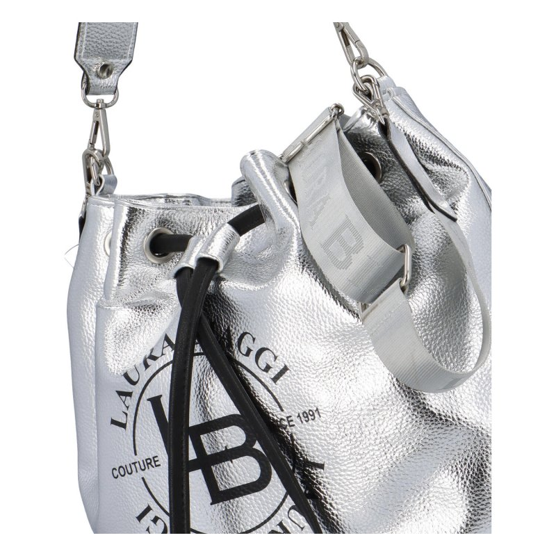 Nepřehlédnutelná dámská koženková kabelka/vak Beatricie Laura Biaggi, stříbrná