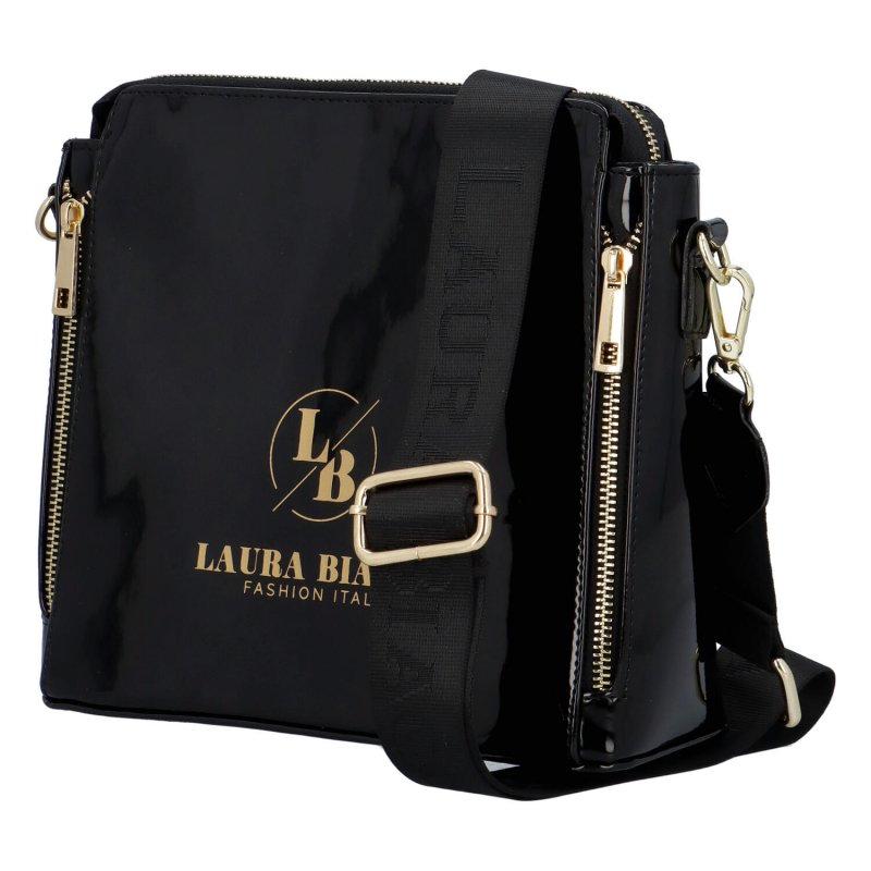 Luxusní lakované crossbody LB One, černé