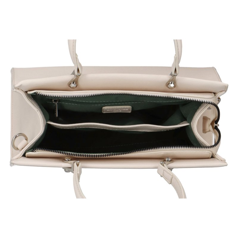Trendová pevná dámská koženková kabelka Frank, béžová
