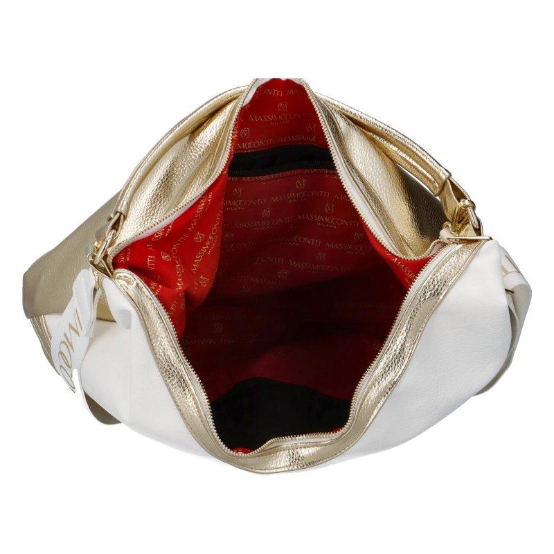 Luxusní dámská koženková kabelka MCO Suzan, bílo-zlatá