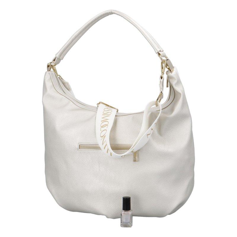 Luxusní dámská koženková kabelka MCO Suzan, bílo-stříbrná