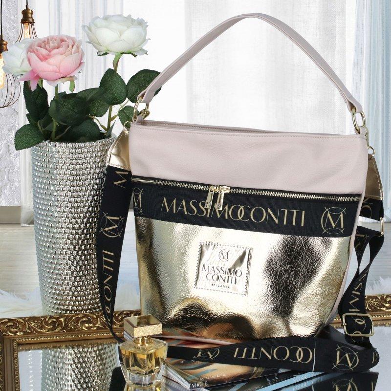 Luxusní dámský shopper kabelka Ivy, béžová-zlatá