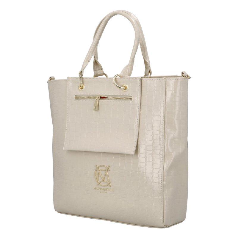 Luxusní pevná béžová kabelka Crocodille Massimo