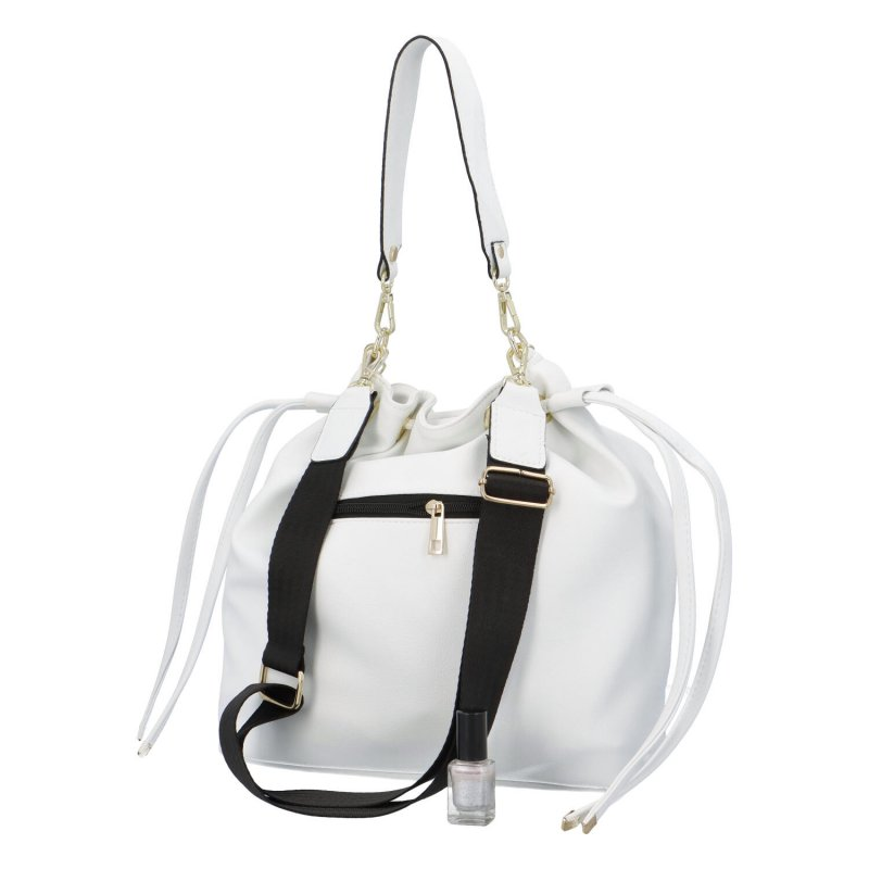 Módní koženková kabelka/vak Maggio George s řetízkem, bílá
