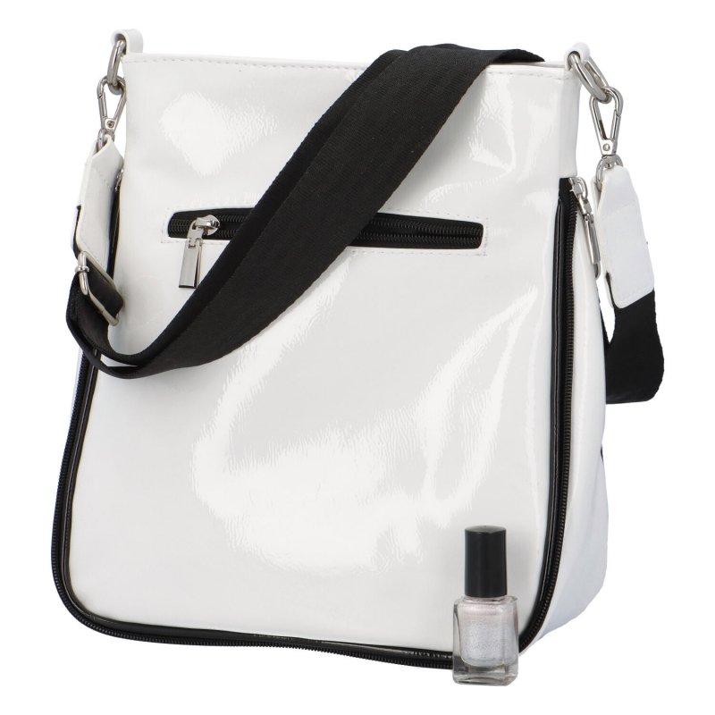 Trendy dámská koženková crossbody kabelka Julia, černá-bílá