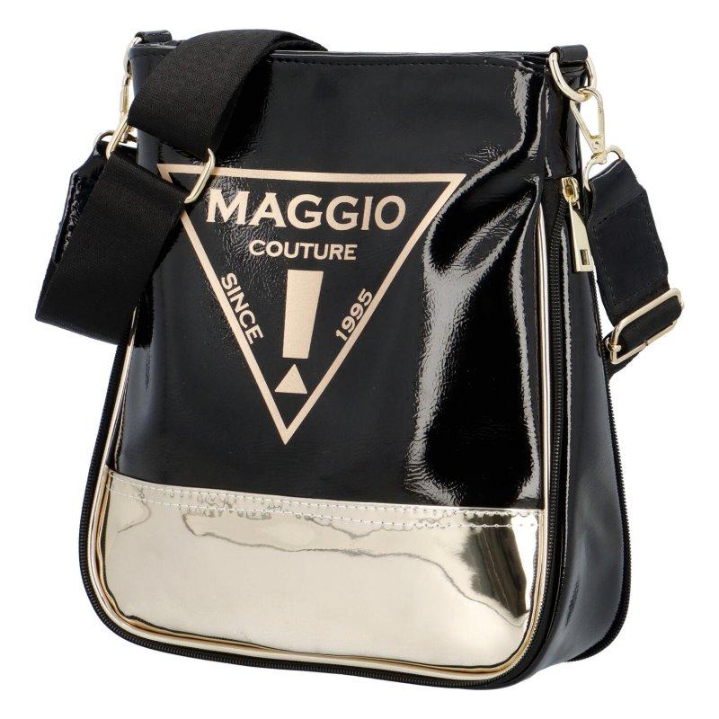 Trendy dámská koženková crossbody kabelka Julia, černá-zlatá