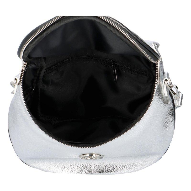 Koženková kabelka/ledvinka do ruky Maggio Rubi, stříbrná