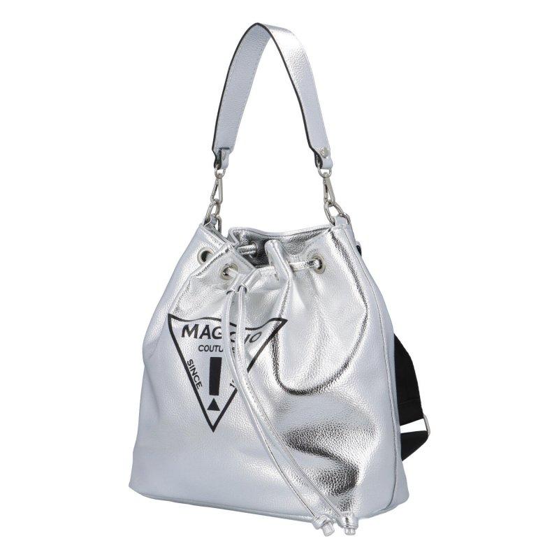 Koženkový kabelko-vak do ruky Maggio Marci, stříbrný