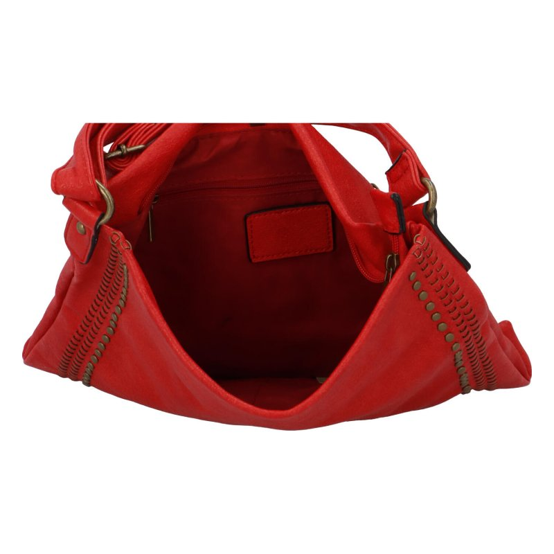 Trendy velká koženková crossbody kabelka Eleanor, červená
