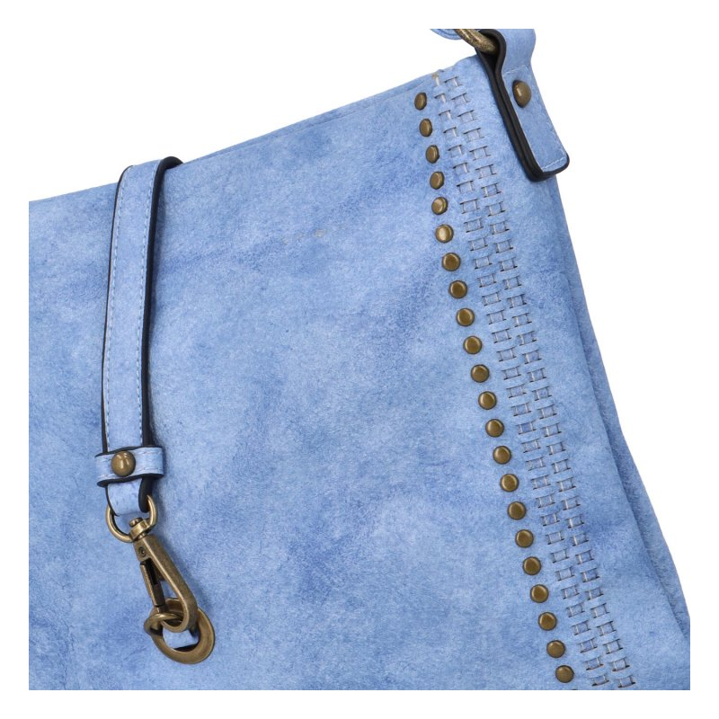 Trendy velká koženková crossbody kabelka Eleanor, modrá