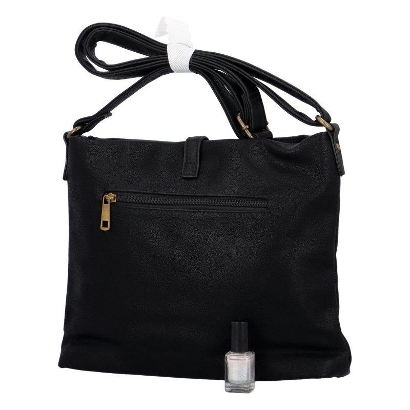 Trendy velká koženková crossbody kabelka Eleanor, černá