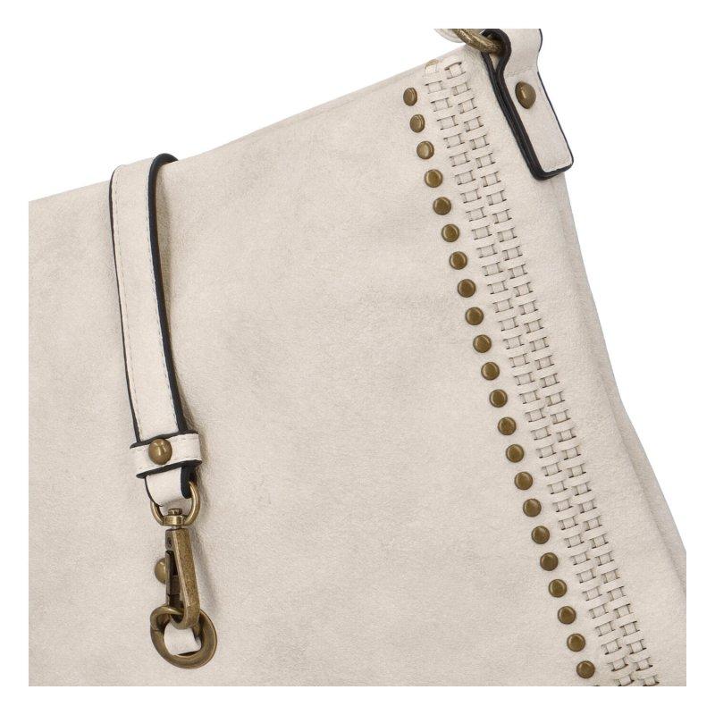 Trendy velká koženková crossbody kabelka Eleanor, béžová