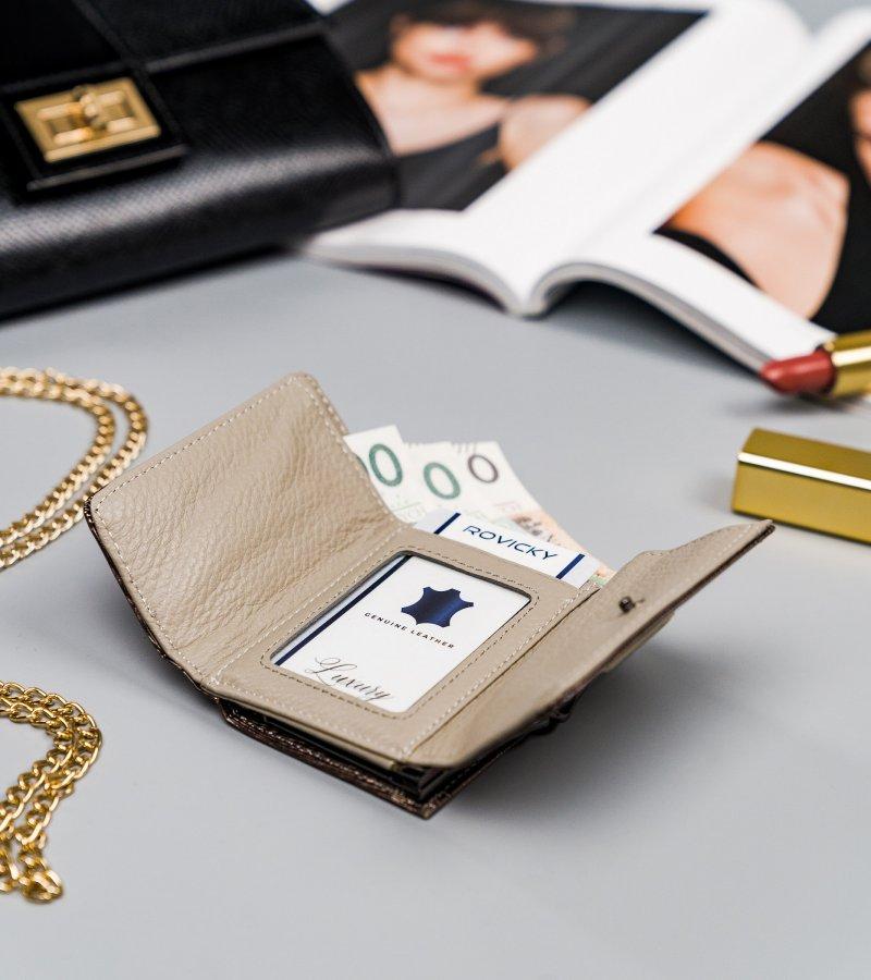 Krásná malá kožená peněženka Majk, stříbrná