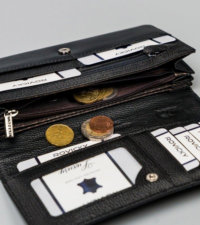 Velká kožená peněženka Deni, černá