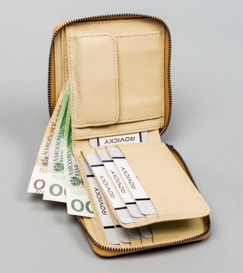 Malinká kožená dámská peněženka Oliver, zlatá