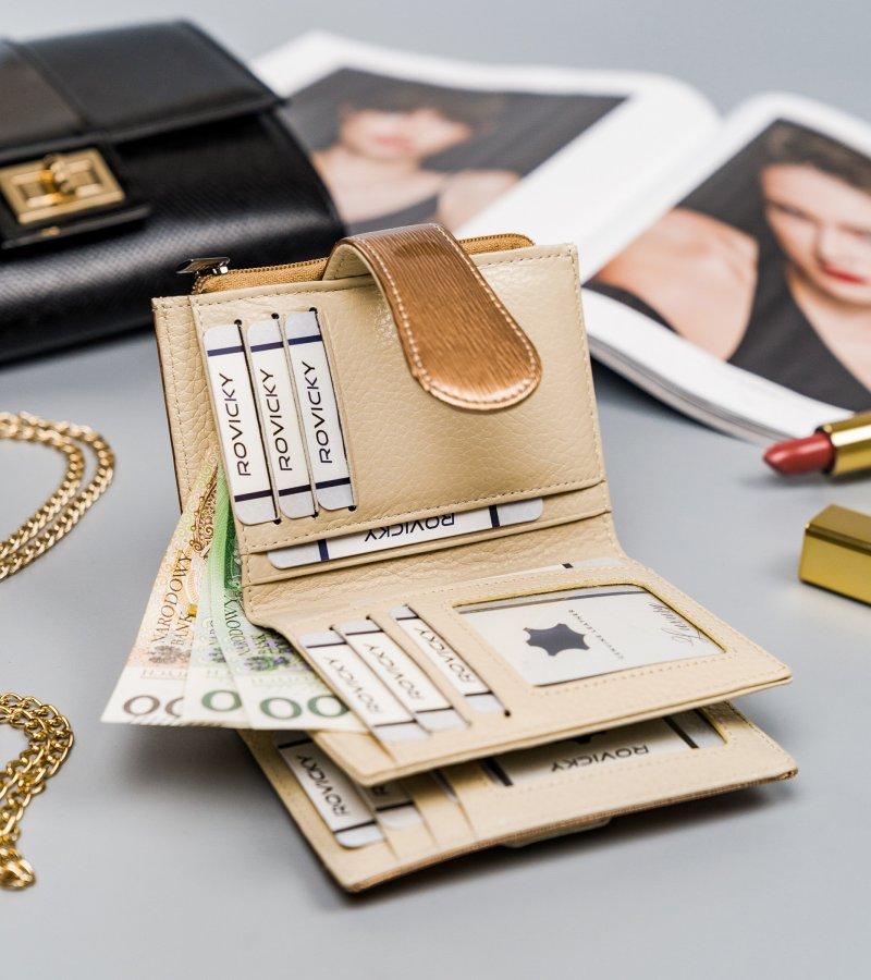 Krásná kožená peněženka John, zlatá