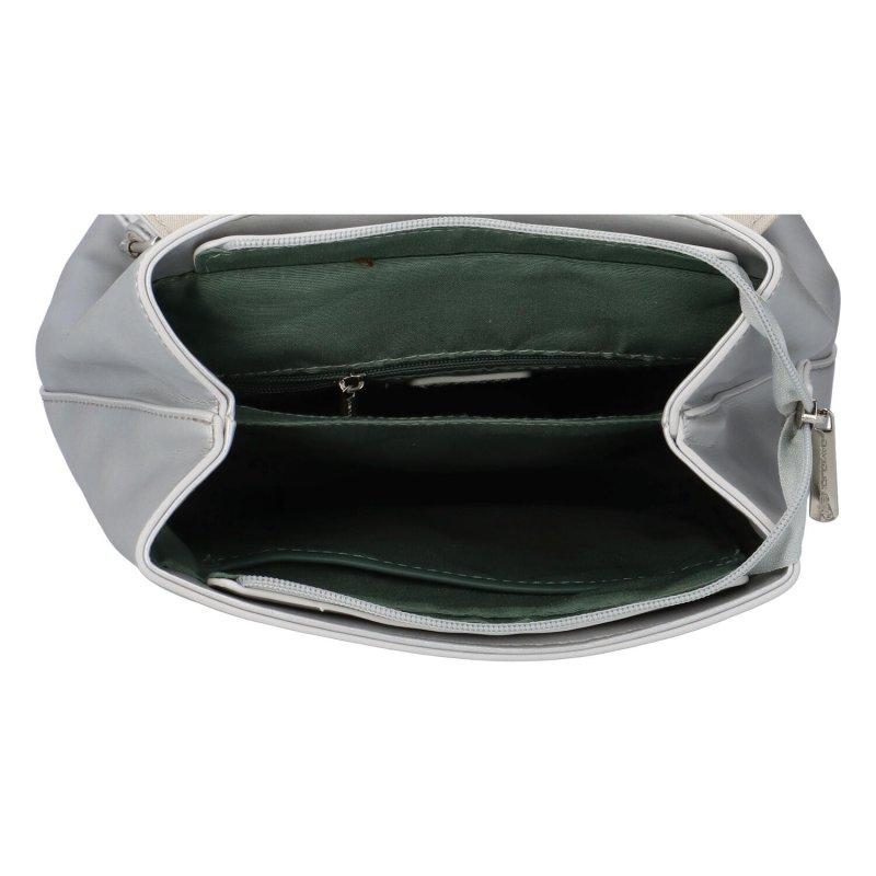 Módní koženkový batůžek Poli, stříbrný
