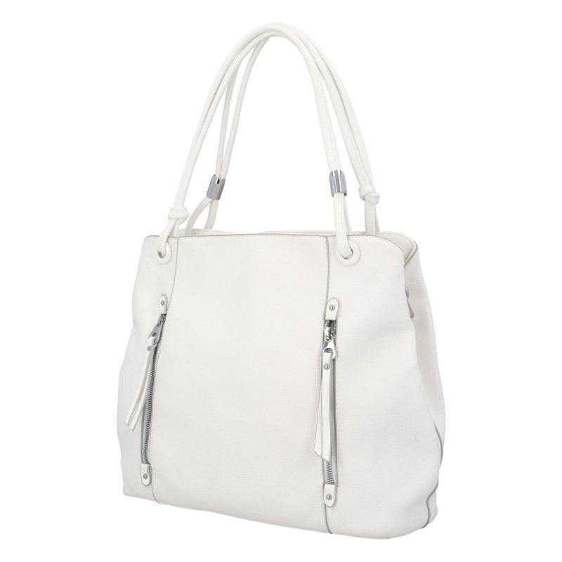 Stylová dámská kabelka se zipy Stefan, bílá